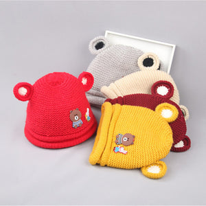 Baby Boys Girls Winter Autumn Cute Rabbit Bear Ears Knitting Wool Beanie Cap Hat - shopbabyitems