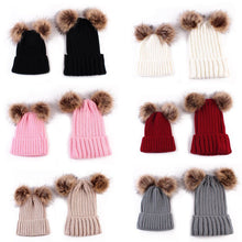 Load image into Gallery viewer, Newborn Baby Boy Girl Mom Mother Winter Warm Pom Pom Bobble Beanie Hat Xmas Gift - shopbabyitems