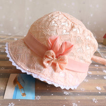 Load image into Gallery viewer, Summer Princess Baby Girl Lace Heart Bowknot Beach Bucket Sun Protection Hat - shopbabyitems