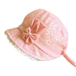 Summer Princess Baby Girl Lace Heart Bowknot Beach Bucket Sun Protection Hat - shopbabyitems