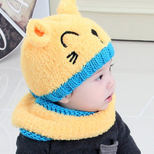 Load image into Gallery viewer, Cute Cat Baby Toddler Autumn Winter Warm Round Hat Beanie Cap + Scarf Set - shopbabyitems