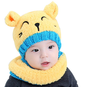 Cute Cat Baby Toddler Autumn Winter Warm Round Hat Beanie Cap + Scarf Set - shopbabyitems