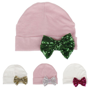 Autumn Winter Newborn Baby Girl Sequin Bowknot Beanie Cap Elastic Turban Hat - shopbabyitems