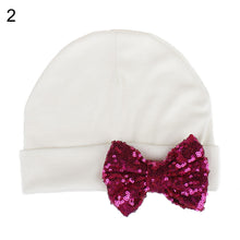 Load image into Gallery viewer, Autumn Winter Newborn Baby Girl Sequin Bowknot Beanie Cap Elastic Turban Hat - shopbabyitems