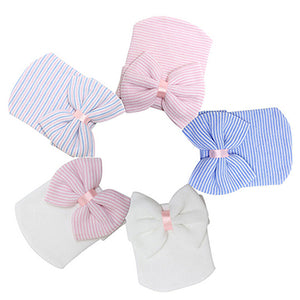 Cute Newborn Baby Infant Girl Toddler Comfy Bowknot Hospital Cap Beanie Hat - shopbabyitems
