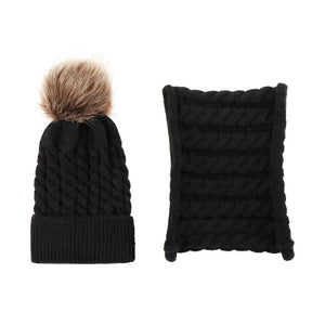 Lovely Baby Pompom Woolen Yarn Knitted Winter Warm Beanie Cap Hat Scarf Set - shopbabyitems