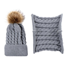 Load image into Gallery viewer, Lovely Baby Pompom Woolen Yarn Knitted Winter Warm Beanie Cap Hat Scarf Set - shopbabyitems