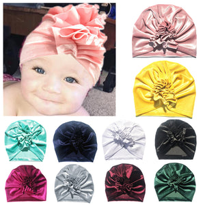 Toddler Baby Girl Floral Solid Color Velvet Beanie Hat Soft Elastic Turban Cap - shopbabyitems