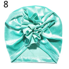 Load image into Gallery viewer, Toddler Baby Girl Floral Solid Color Velvet Beanie Hat Soft Elastic Turban Cap - shopbabyitems