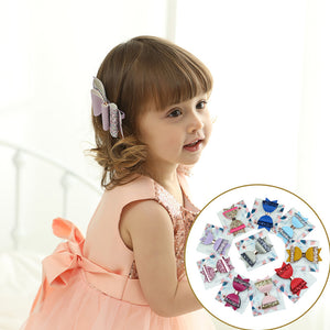 Fashion Baby Girl Shimmer Sequins Faux Leather Bowknot Hairpin Clip Barrette - shopbabyitems