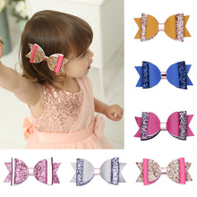 Load image into Gallery viewer, Fashion Baby Girl Shimmer Sequins Faux Leather Bowknot Hairpin Clip Barrette - shopbabyitems