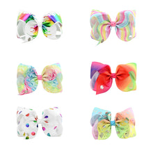 Load image into Gallery viewer, 8inch Kids Baby Girls Rainbow Bowknot Hairpin Ribbon Alligator Clip Barrette - shopbabyitems