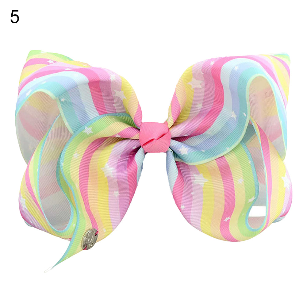 8inch Kids Baby Girls Rainbow Bowknot Hairpin Ribbon Alligator Clip Barrette - shopbabyitems
