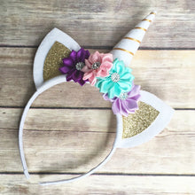 Load image into Gallery viewer, Lovely Birthday Party Headband Baby Girls Unicorn Horn Ears Flower Hairband - shopbabyitems
