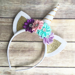Lovely Birthday Party Headband Baby Girls Unicorn Horn Ears Flower Hairband - shopbabyitems