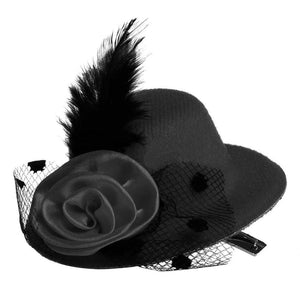 Baby Girl Mini Feather Rose Flower Gauze Hat Style Hair Clip Costume Accessory - shopbabyitems