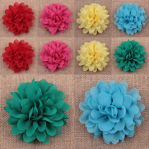 10Pcs Mixed Color Baby Infant Girls Chiffon Flower No Clip DIY Hair Accessory - shopbabyitems