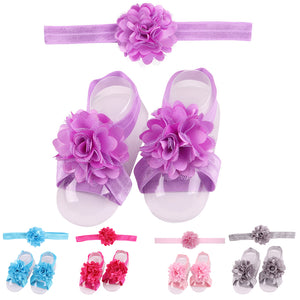Lovely Baby Girls Lace Flower Hairband Floral Shoes Band Headband Headwear Gift - shopbabyitems