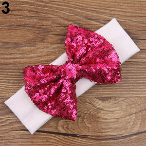 Baby Infant Cute Elastic Hair Band Sequins Bowknot Headband Xmas Party Gift - shopbabyitems