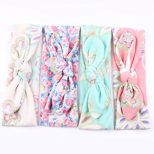 Baby Girls Lovely Floral Print Rabbit Ear Elastic Headband Hair Accessory Gift - shopbabyitems