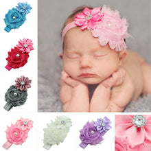 Load image into Gallery viewer, Kids Baby Faux Pearl Rhinestones Stretchy Cloth Ribbon Flower Headband Hair Band - shopbabyitems