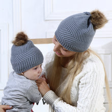 Load image into Gallery viewer, Warm Knitted Beanie Hat Mother Daughter Adult Kid Matching Pompom Winter Cap - shopbabyitems