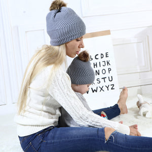 Warm Knitted Beanie Hat Mother Daughter Adult Kid Matching Pompom Winter Cap - shopbabyitems