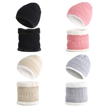 Load image into Gallery viewer, Kids Baby Boy Girl Solid Color Beanie Cap Warm Winter Knitted Hat Scarf Set - shopbabyitems