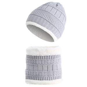 Kids Baby Boy Girl Solid Color Beanie Cap Warm Winter Knitted Hat Scarf Set - shopbabyitems