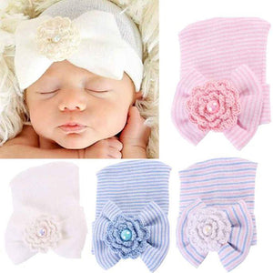 Cute Newborn Infant Baby Girls Toddler Bowknot Beanie Hat Cap Christmas Gift - shopbabyitems
