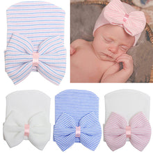 Load image into Gallery viewer, Cute Baby Newborn Infant Toddler Bowknot Beanie Cute Hat Comfy Hospital Cap - shopbabyitems