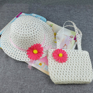 Summer Beach Little Princess Baby Kids Girl Flower Straw Sun Hat and Bag Gift - shopbabyitems