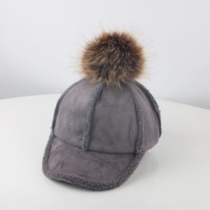 Outdoor Kids Baby Boy Girl Solid Color Pompom Baseball Cap Thick Snapback Hat - shopbabyitems