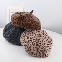 Load image into Gallery viewer, Fashion Winter Outdoor Adult Kids Matching Leopard Print Beret Felt Hat Cap - shopbabyitems