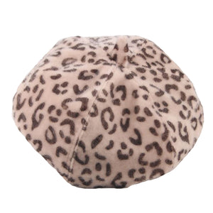 Fashion Winter Outdoor Adult Kids Matching Leopard Print Beret Felt Hat Cap - shopbabyitems