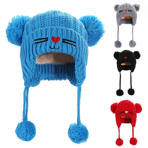 Kids Children Babies Autumn Winter Cat Double Balls Warm Soft Hat Beanie Cap - shopbabyitems