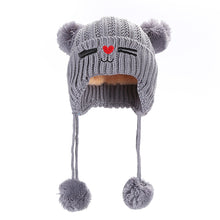 Load image into Gallery viewer, Kids Children Babies Autumn Winter Cat Double Balls Warm Soft Hat Beanie Cap - shopbabyitems