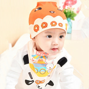 Cute Cartoon Donut Newborn Baby Photo Props Costume Hat + Triangle Baby Bib - shopbabyitems