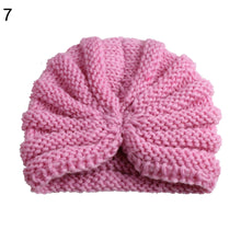 Load image into Gallery viewer, Winter Solid Color Toddler Baby Beanie Cap Pleated Elastic Knitted Turban Hat - shopbabyitems
