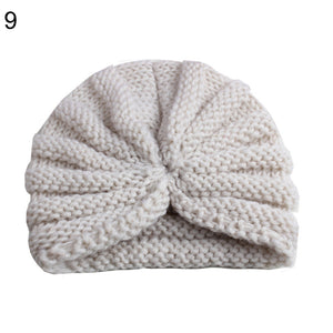 Winter Solid Color Toddler Baby Beanie Cap Pleated Elastic Knitted Turban Hat - shopbabyitems