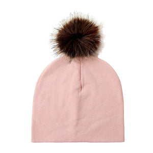 Infant Baby Kids Lovely Faux Fur Ball Cotton Knitted Soft Warm Hat Beanie Cap - shopbabyitems