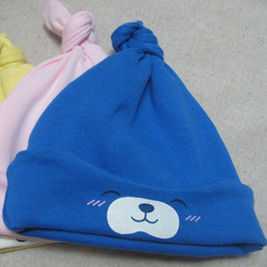 Cartoon Bear Knotted Infant Newborn Baby Boy Girl Beanie Cap Elastic Cotton Hat - shopbabyitems