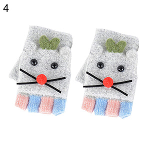 Winter Kids Baby Boys Girls Cartoon Mouse Flip Top Fingerless Gloves Mittens - shopbabyitems