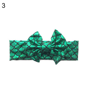 Baby Girls Metallic Mermaid Scale Big Bow Headband Hair Band Elastic Headwear - shopbabyitems