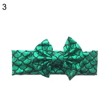 Load image into Gallery viewer, Baby Girls Metallic Mermaid Scale Big Bow Headband Hair Band Elastic Headwear - shopbabyitems