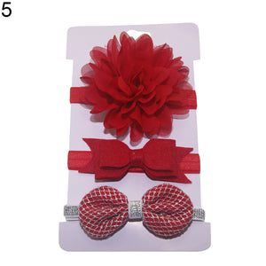 3Pcs/Set Baby Girls Lovely Flower Bowknot Elastic Headband Hair Band Headwear - shopbabyitems