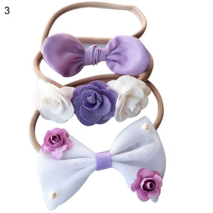 3Pcs Infant Baby Girl Bowknot Flower Headband Hairband Headwear Decor Gift - shopbabyitems