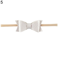 Load image into Gallery viewer, Baby Girls Toddler Kids Faux Leather Elastic Bow Headband Hair Band Accessories - shopbabyitems