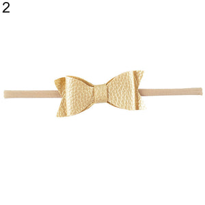 Baby Girls Toddler Kids Faux Leather Elastic Bow Headband Hair Band Accessories - shopbabyitems