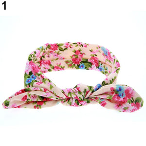 Baby Girls' Colorful Floral Pattern Lovely Rabbit Ear Wide Headband Hair Band - shopbabyitems